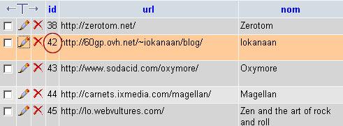 Vu de la ligne d'identifiant 42 de la base de données des bookmarks d'Utena