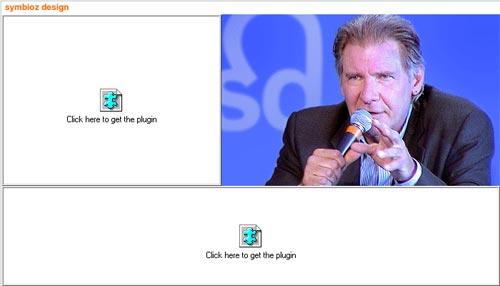 visuel du site Symbioz Design avec un browser sans Flash: inutilisable