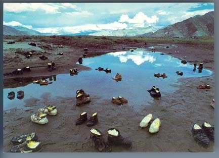 Photo de Yin XiuZhen: nombreuses chaussures emplies de beurres disposées dans un paysage proche de Lhasa